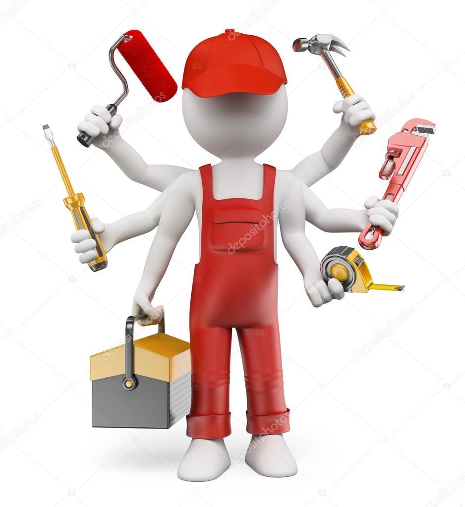 3D white people. Multitasking handyman