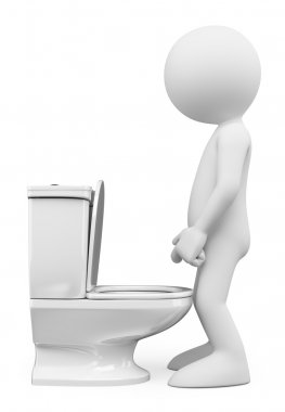 3D white people. Man in the toilet