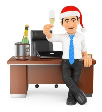 3D Businessman toasting Christmas in his office