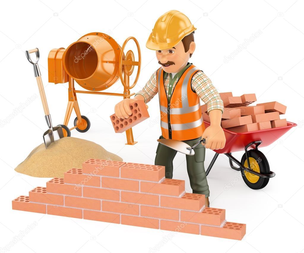 3d alba il construyendo una pared de ladrillo foto de for Costruendo su una casa di ranch