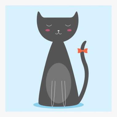 Vector cute happy flat domestic animal cat with orange  bow on the long tail