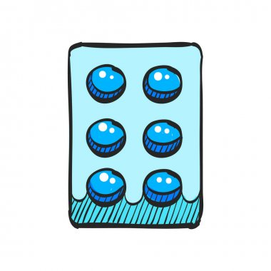Pills icon in color drawing. Vitamin medicine drugs painkiller addiction blister pack icon