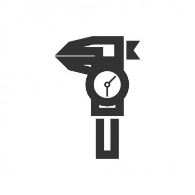 Dial caliper icon in thick outline style. Black and white monochrome vector illustration.