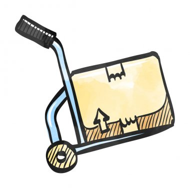 Watercolor style icon Logistic trolley icon