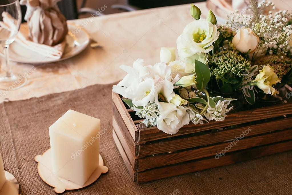 Rustic Wedding Decorations Wooden Box And Candle With Bouquet O Stock Photo 101659170