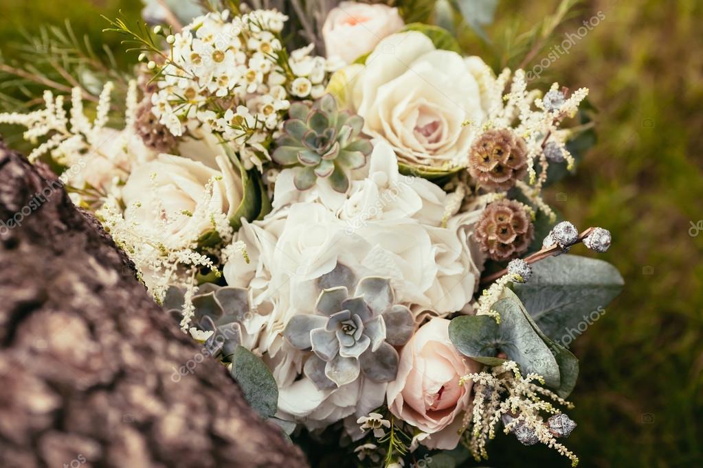 Rosen Sukkulenten Und Andere Blumen In Hochzeitsstrauss Auf Grun