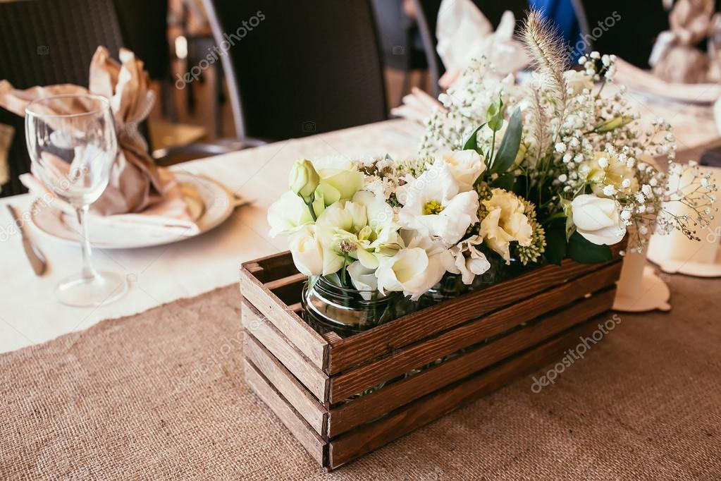 Rustic Wedding Decorations Wooden Box With Bouquet Of Flowers O Stock Photo 97753736