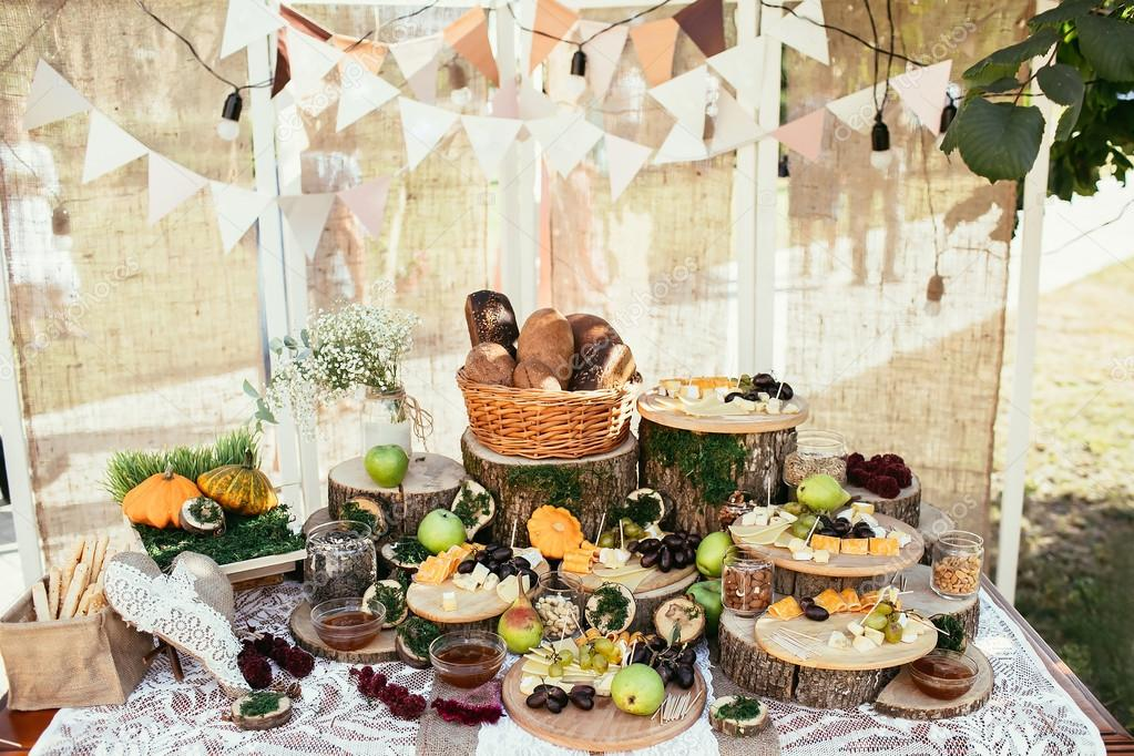 Rustic Bagging Candy Bar Set Up On Wedding Ceremony Place Stock