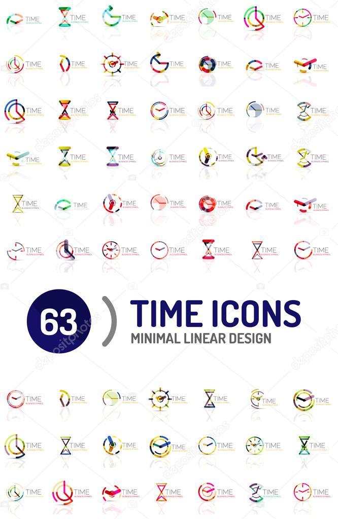Satz von Vektor abstrakte Logo Ideen, Zeit-Konzepte oder Uhr ...