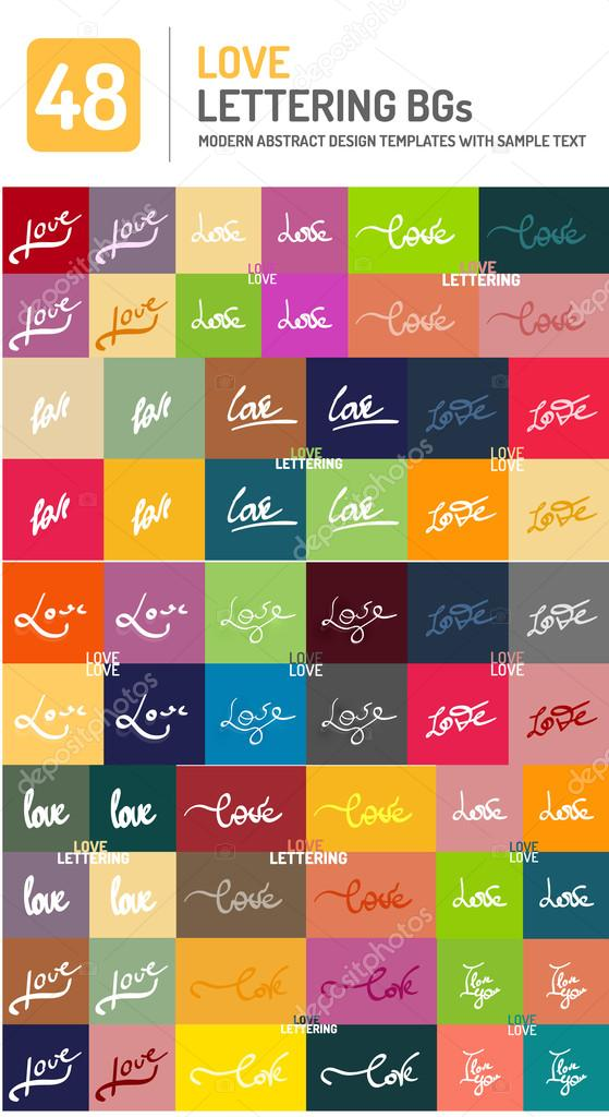 Set Of Love Word Lettering Design Stock Vector