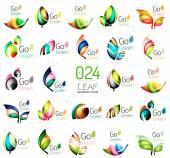 Sada barevné geometrické listí s tekoucí vlnité prvky