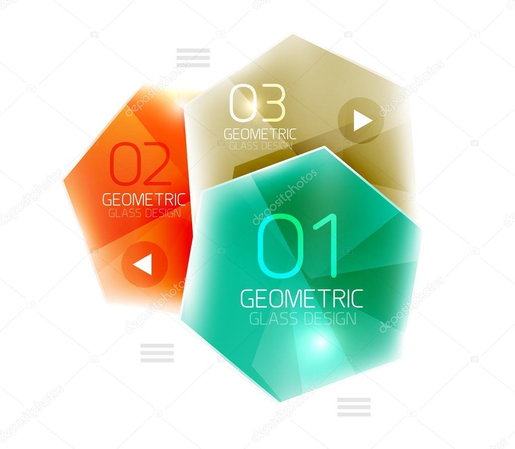 Plantilla de vidrio colorido hexágono negocios infografía — Vector ...