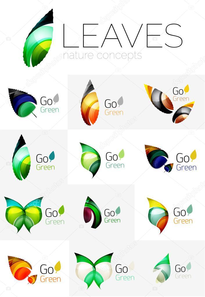 Leaf logo set