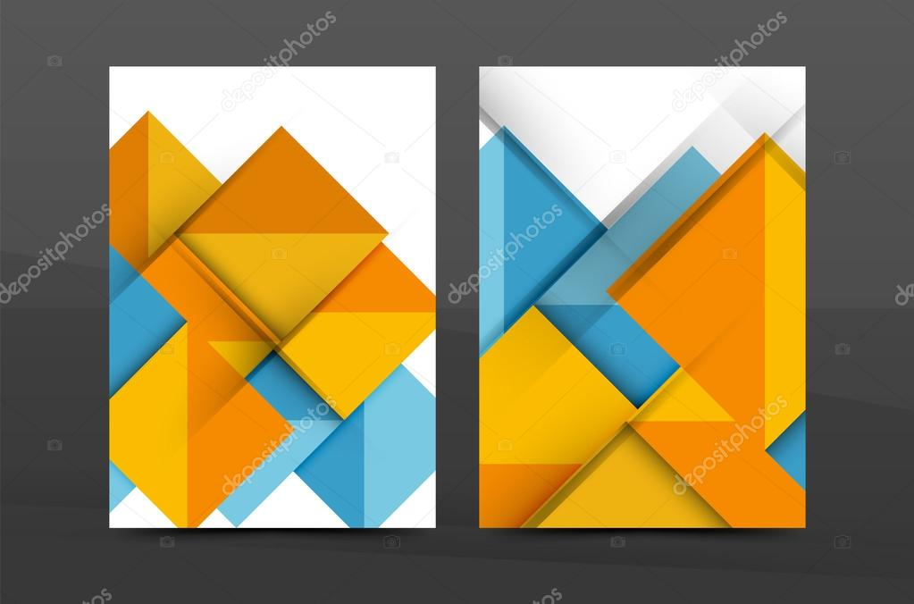Quadrate und Dreiecke jährlichen Report-Cover-Vorlage — Stockvektor ...