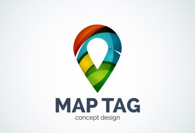 Abstract business company map tag or locator logo template, navigation pointer concept