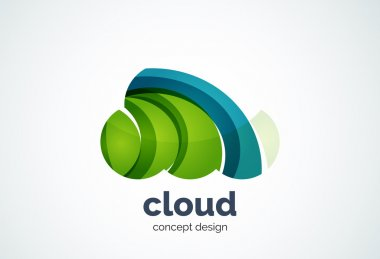 Cloud logo template, remote hard drive storage or weather concept