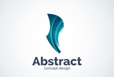 Abstract wave logo template, smooth motion concept