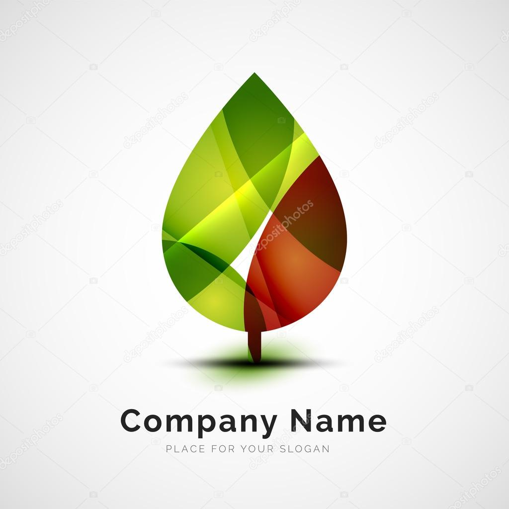 Leaf logo, seasonal autumn concept