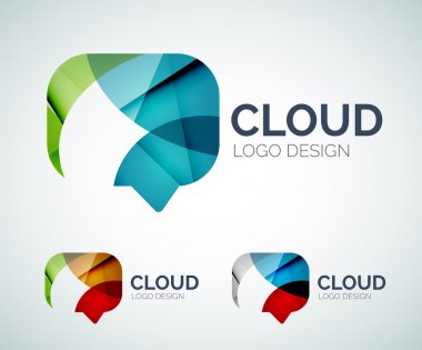 Chat cloud logo design made of color pieces