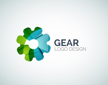 Gear logo design made of color pieces
