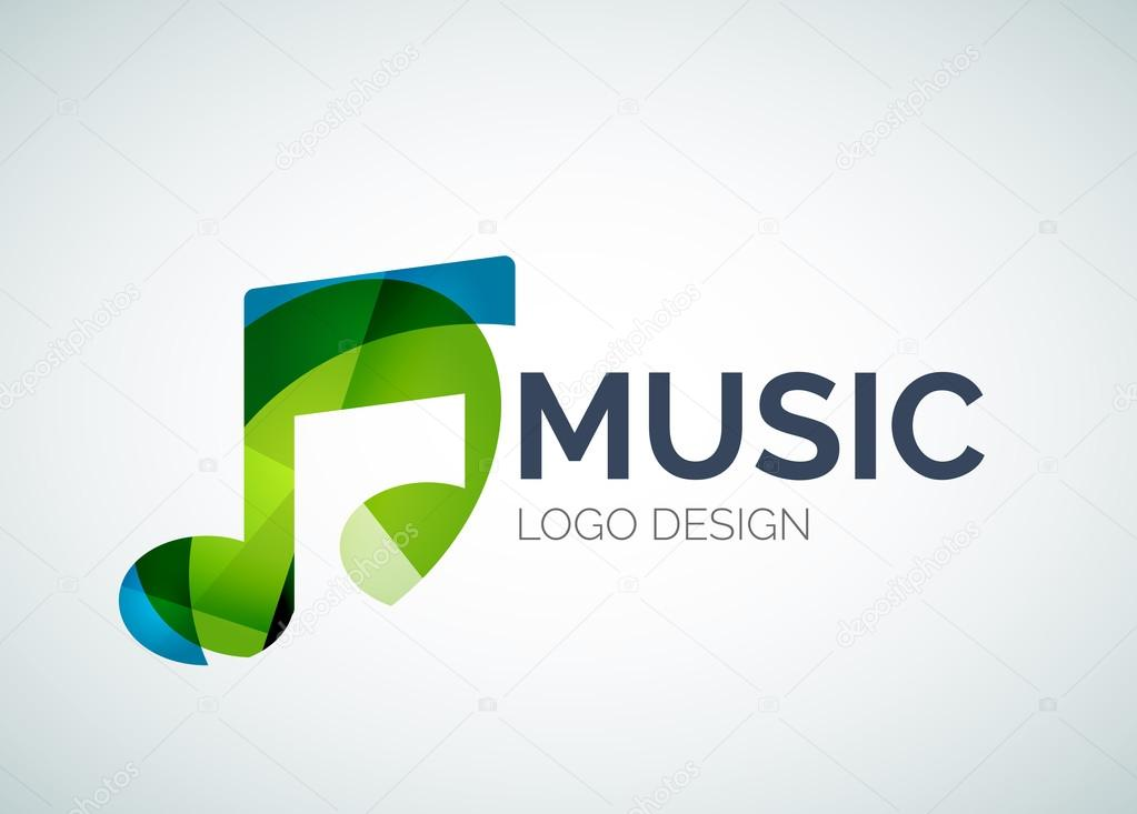 Music, note icon logo made of color pieces