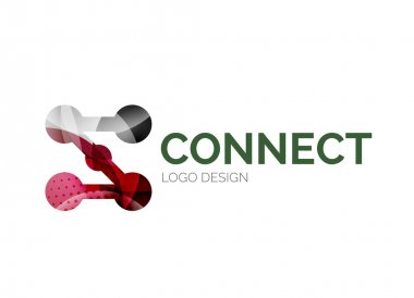 Connection icon logo design made of color pieces