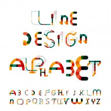 Minimal line design alphabet, font, typeface