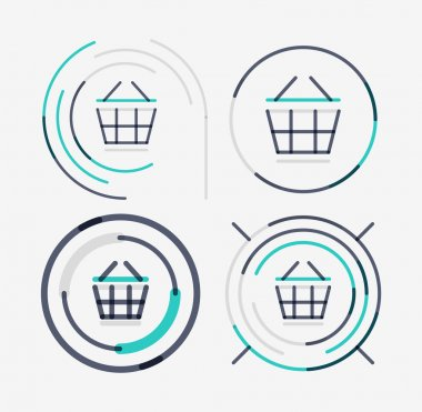 Thin line neat design logo set, shopping cart icon