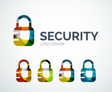 Lock logo design made of color pieces