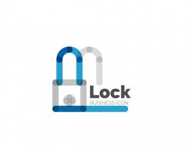 Line minimal design logo lock