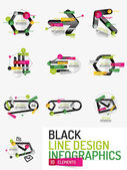 Sada minimální linie designu office web infografika