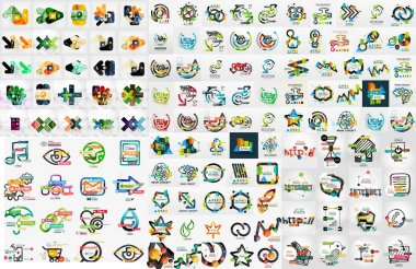 Huge mega set of infographic templates, modern compositions woth labels, stickers, words and other stock vector