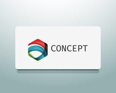 Abstract logo design, wave shape hexagon