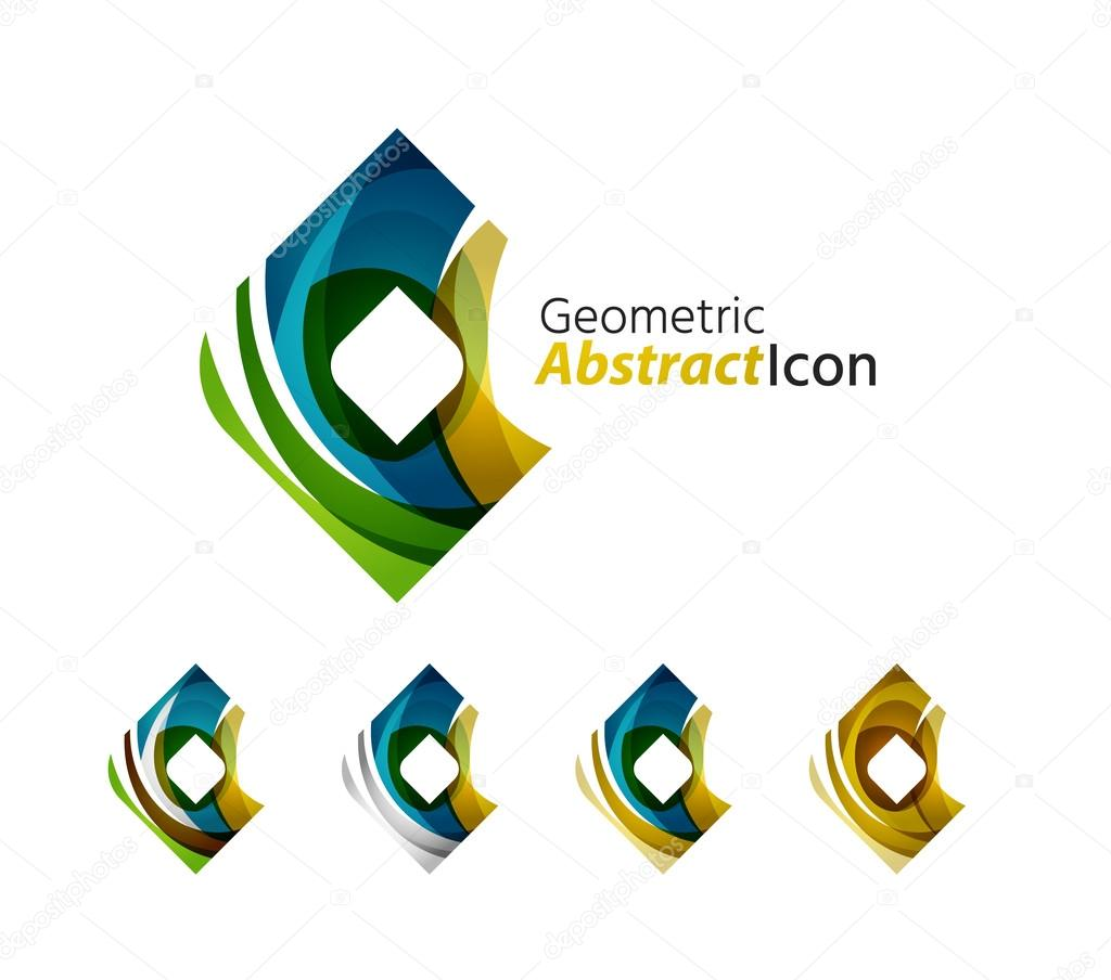 Set of abstract geometric company logo square, rhomb ...