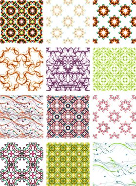 Set seamless geometric patterns - circles, swirls and floral textures