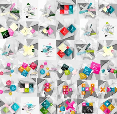 Mega collection of geometric paper style banners