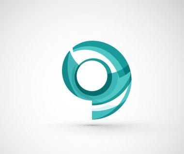 Abstract geometric company logo ring,