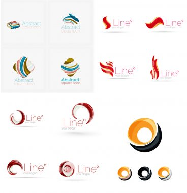 Set of swirl, wave lines, circle logo icons