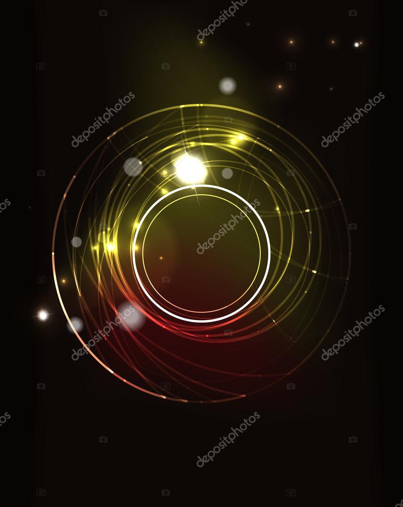 Glowing circle in dark space