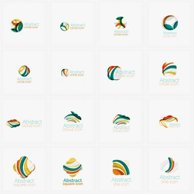 Set of light abstract geometric business company logos. Clean modern design, flowing elements