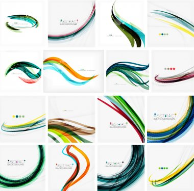Set of abstract backgrounds. Circles, swirls and waves with copyspace for your message