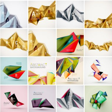 Set of triangle geometric 3d forms. Modern info banner abstract backgrounds
