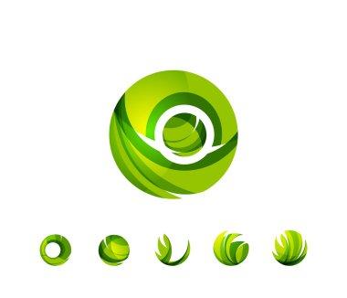 Set of globe sphere or circle logo
