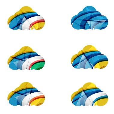 Set of abstract cloud computing icons
