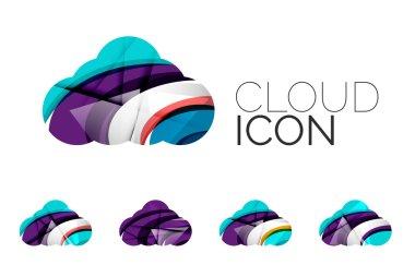 Set of abstract cloud computing icons,