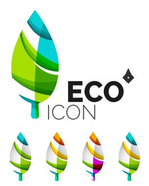 Set of abstract eco leaf icons