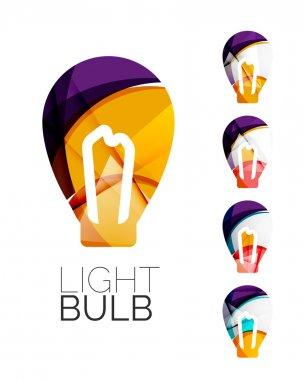 Set of abstract light bulb icons,