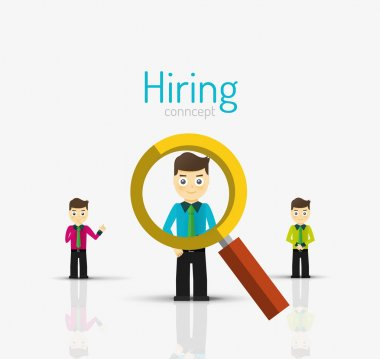 Hiring flat design concept. Man and magnifying glass
