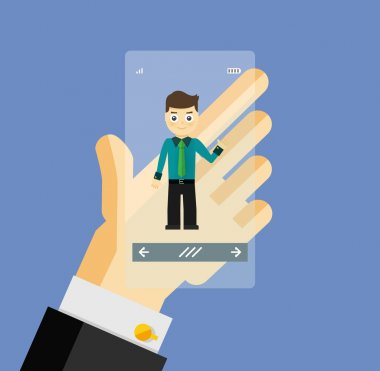 Human hand holding transparent screen smartphone with virtual assistant - businessman