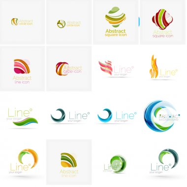 Set of abstract wavy elements. Circles, swirls and waves with copyspace for your message